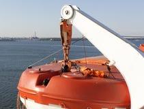 一部分的大轮渡,在渡轮的保存的小船 免版税库存图片