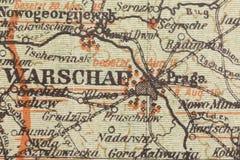 一部分的德国世界大战军事地图从1915年与Warschau -华沙 免版税库存照片