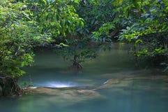 一部分的惠山Mae Khamin瀑布 库存图片
