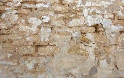 一部分的有削皮膏药的老砖墙,纹理 库存图片