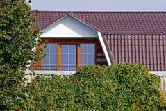 一部分的有窗口和绿色植被的一个棕色铺磁砖的屋顶 免版税图库摄影