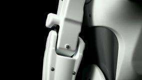 一部分的机器人的细节在黑背景关闭的 股票视频