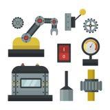 一部分的机械制造业工作细节齿轮机械设备产业传染媒介例证 免版税图库摄影