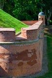 一部分的涅斯维日城堡的砖墙在白俄罗斯 库存照片
