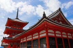 一部分的清水寺寺庙在京都,日本 库存图片