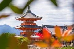一部分的清水寺寺庙在京都,日本 免版税库存照片