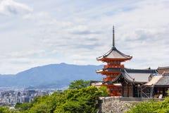 一部分的清水寺寺庙在京都,日本 免版税库存图片