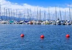 一部分的游艇和小船在Ouchy口岸 洛桑 免版税库存图片