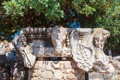 一部分的石头在Dydim雕刻了阿波罗寺庙的装饰 免版税库存图片
