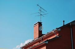 一部分的砖房子的屋顶 图库摄影