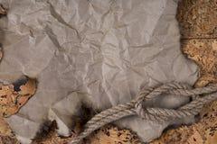一部分的老被烧的羊皮纸和大麻绳索说谎在与黄柏的桌上的结完成 图库摄影