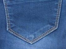 一部分的蓝色牛仔裤口袋 库存照片