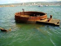 一部分的被淹没的USS亚利桑那,珍珠港 免版税库存照片