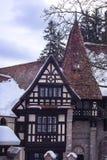 一部分的西奈,罗马尼亚建筑学从19世纪 在冬天 图库摄影