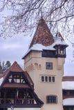 一部分的西奈,罗马尼亚建筑学从19世纪 在冬天 库存图片