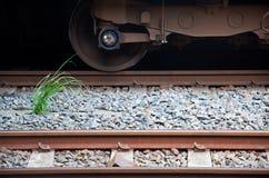一部分的铁路,火车轮子 免版税库存图片