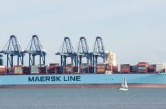 一部分的马士基线在口岸的集装箱船在有起重机的Flexistowe 免版税库存图片