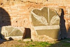 一部分的Caracalla巴恩的装饰在罗马 图库摄影