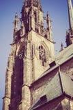 一部分的Chech共和国的布尔诺一个古老哥特式天主教会与葡萄酒治疗 库存照片