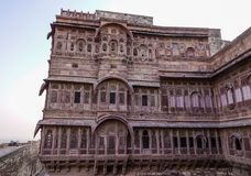 一部分的Mehrangarh堡垒在乔德普尔城,印度 图库摄影