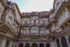 一部分的Mehrangarh堡垒在乔德普尔城,印度 免版税库存照片