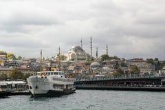 一部分看法的从一条游览小船的伊斯坦布尔在Bosphorus海峡 免版税库存图片