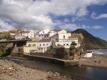 一部分看法的海岛圣地的米格尔小镇Povoacao,亚速尔群岛 库存图片