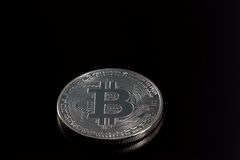 一银色bitcoin 库存图片