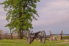 一门大炮在葛底斯堡,宾夕法尼亚 图库摄影