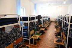 一间卧室在军校学生营房 库存照片