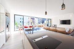 一间大和明亮的屋子的现代内部 免版税库存图片