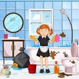 一间担心的佣人清洁洗手间 库存图片