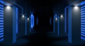 一间空的屋子的背景有墙壁和水泥地板的 空的室,台阶,电梯,烟,烟雾,霓虹灯,灯笼 皇族释放例证