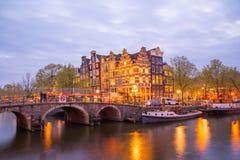 一阿姆斯特丹著名运河,黄昏的荷兰 免版税图库摄影