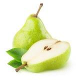 一阿那一半被隔绝的绿色梨 免版税库存照片