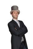 一顶高顶丝质礼帽的人 免版税库存图片