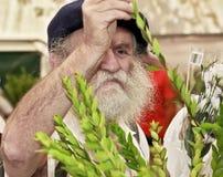 一顶黑贝雷帽的宗教犹太人 库存照片
