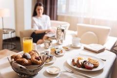 一顿可口早餐的选择聚焦 库存图片