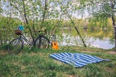 一顿夏天野餐的轻率冒险在湖的被弄脏的背景的森林 免版税图库摄影