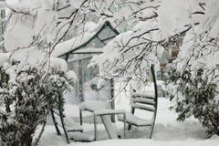 一顿多雪的树早午餐有被弄脏的凉亭背景 免版税库存图片