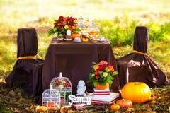 一顿浪漫晚餐的装饰的桌在秋天公园 库存图片