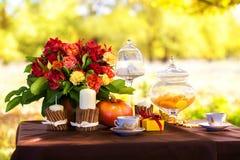 一顿浪漫晚餐的装饰的桌在秋天公园 免版税库存图片