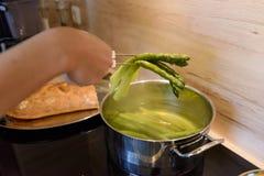一顿膳食的准备在酥皮点心外壳的用绿色芦笋 免版税库存图片