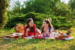 一顿野餐的谈两个美丽的女孩在夏天在公园吃苹果和拷贝空间 免版税库存图片
