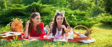 一顿野餐的谈两个美丽的女孩在夏天在公园吃苹果和横幅概念 免版税图库摄影