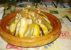 一顿非常好的素食摩洛哥膳食 免版税库存照片