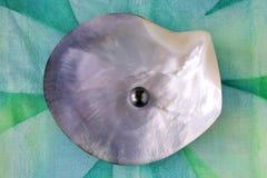 一颗圆的Tahitian黑色珍珠 免版税库存图片
