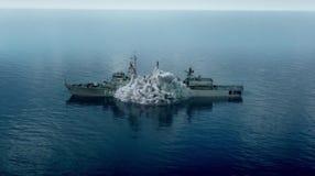 一颗巨大的炸弹撞的船 图库摄影