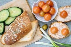 一颗有壳的长方形宝石切片的顶视图用西红柿、黄瓜和绿橄榄,乳脂干酪 图库摄影