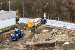 一颗WW2炸弹的处置在奥格斯堡,德国 免版税库存图片